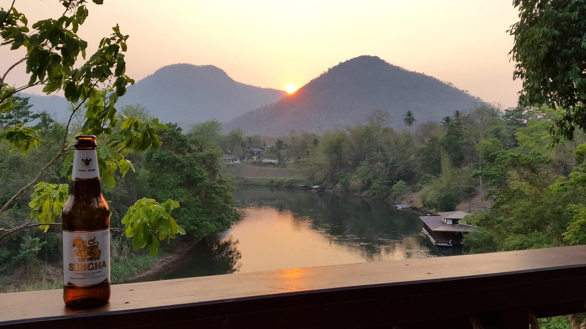 Beautiful sunset at Hintok River Camp, Thailand