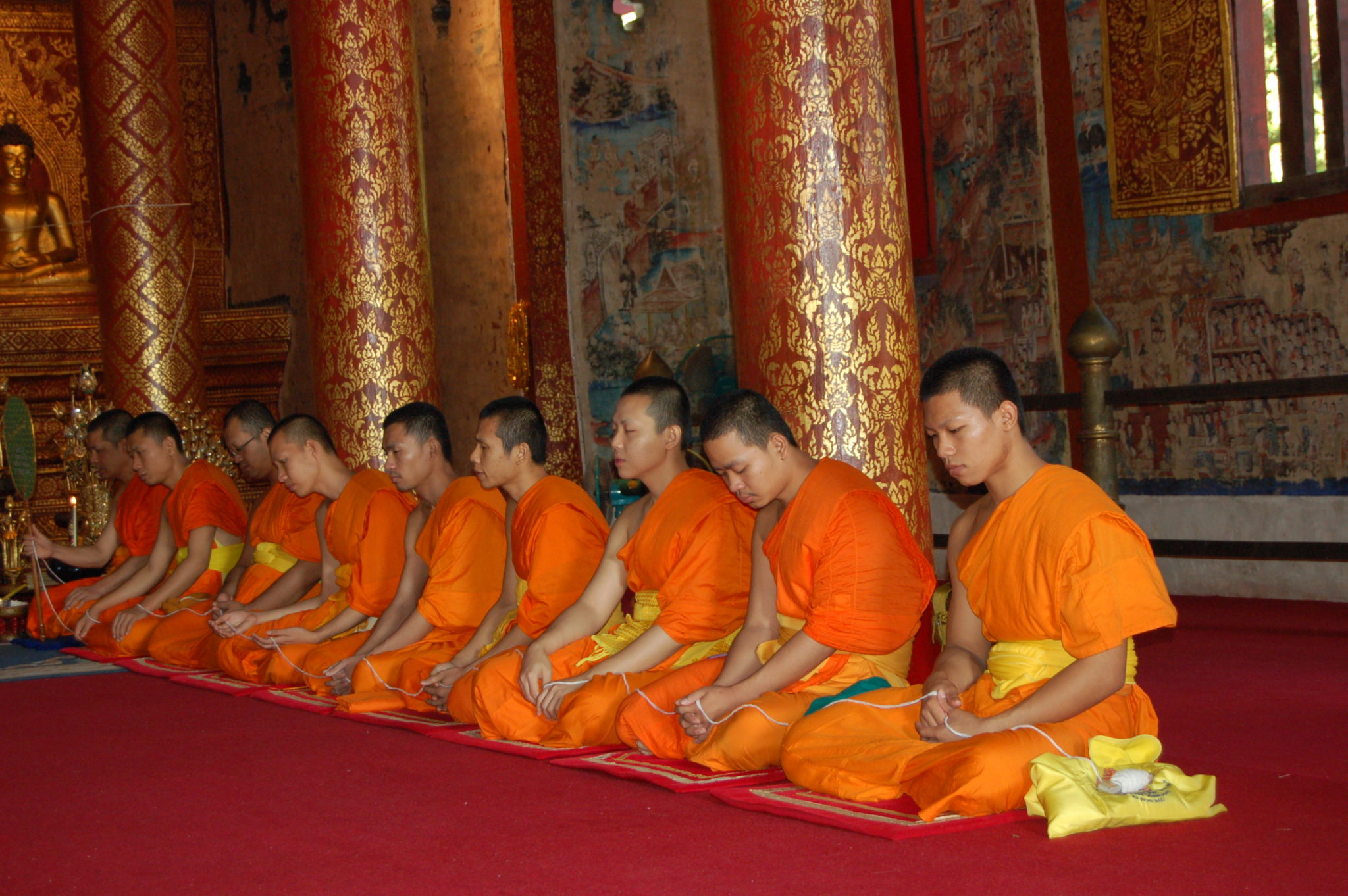 Monks in temple in Chiang Mai, Thailand