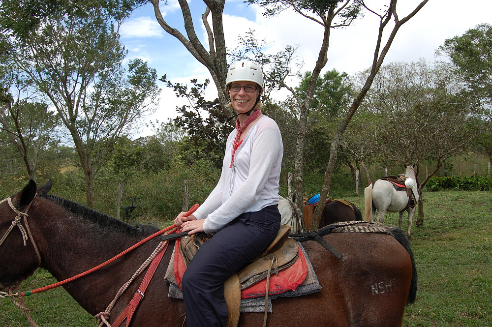 On a horse. In Costa Rica